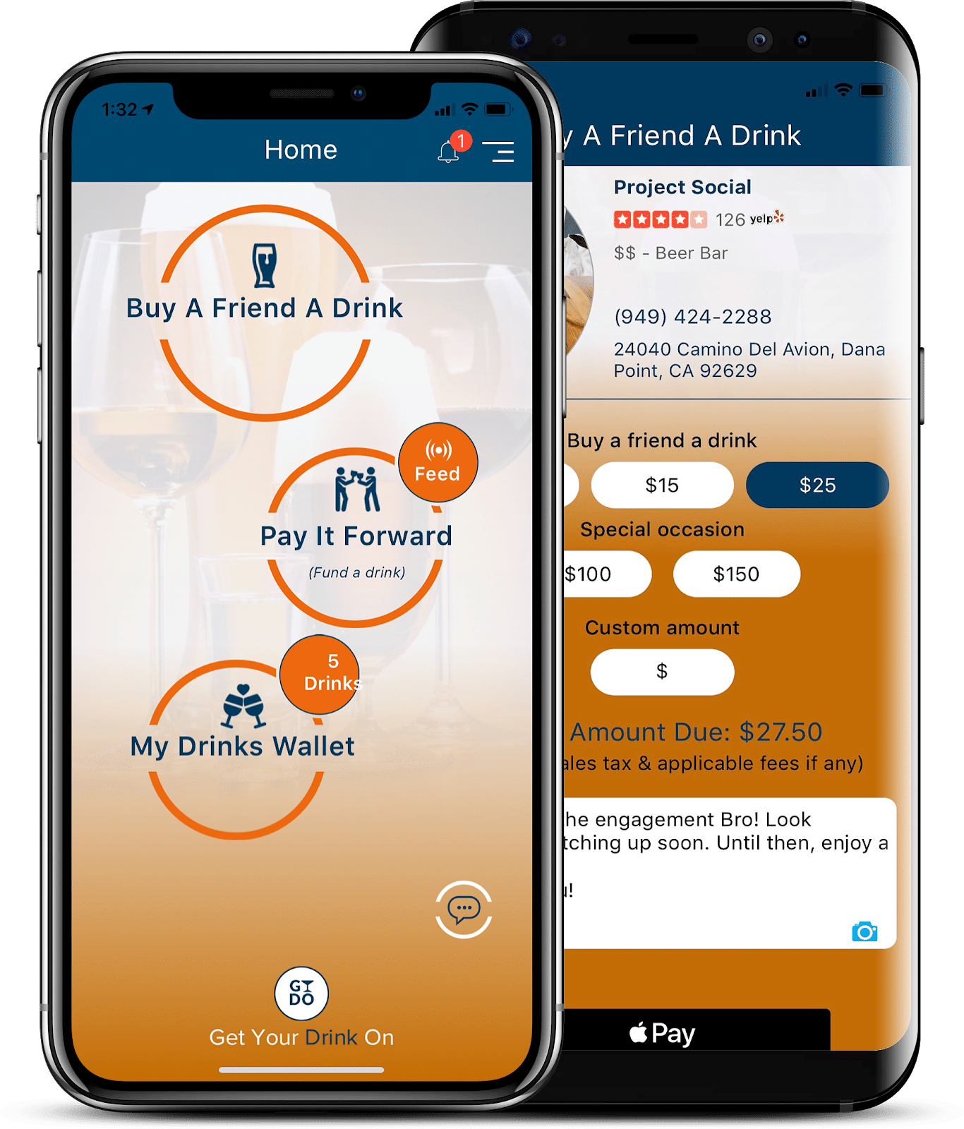 cell phone showing Get Your Drink On app